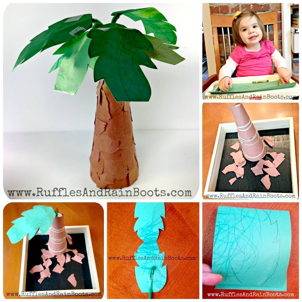 photo collage of coconut tree craft for kids