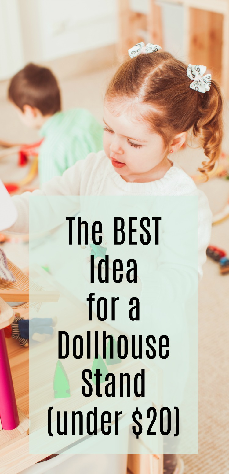 Make this dollhouse stand for less than 20 bucks and in less than 20 minutes. It's great for toddlers and young kids (and storage for all the dollhouse stuff)! #dollhouse #ikeahack #rufflesandrainboots