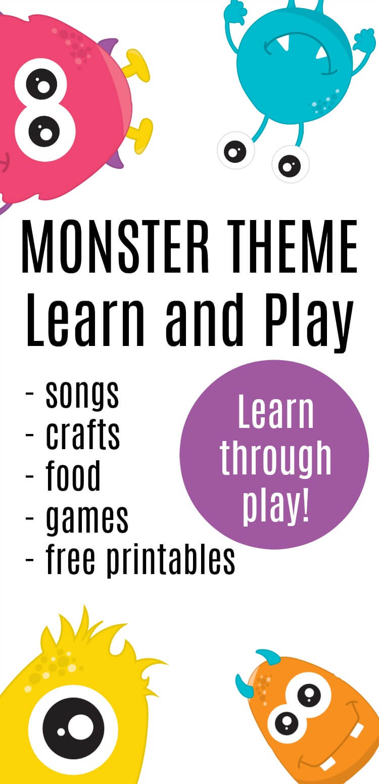 Set up this monster theme learn and play day full of monster songs, monster crafts, monster food, monster printables, and so much more. #monster #monsterparty #monstertheme #monsterprintable #rufflesandrainboots