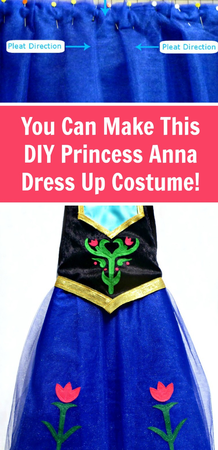 Make this Princess Anna dress up costume with the free pattern provided and a detailed tutorial for beginner sewing. #FROZEN #costumes #rufflesandrainboots