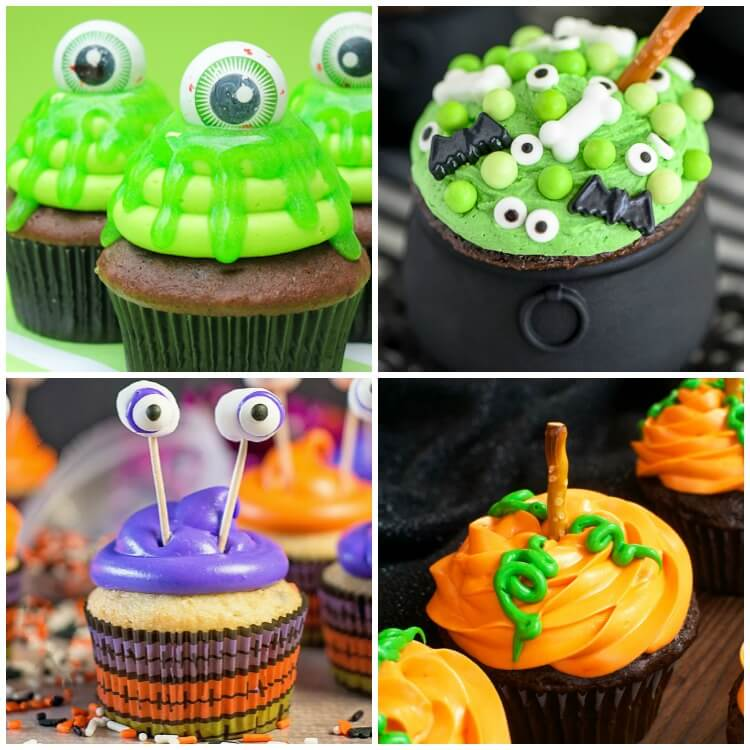 photo collage of ghost pumpkin monster and caldron Halloween cupcakes