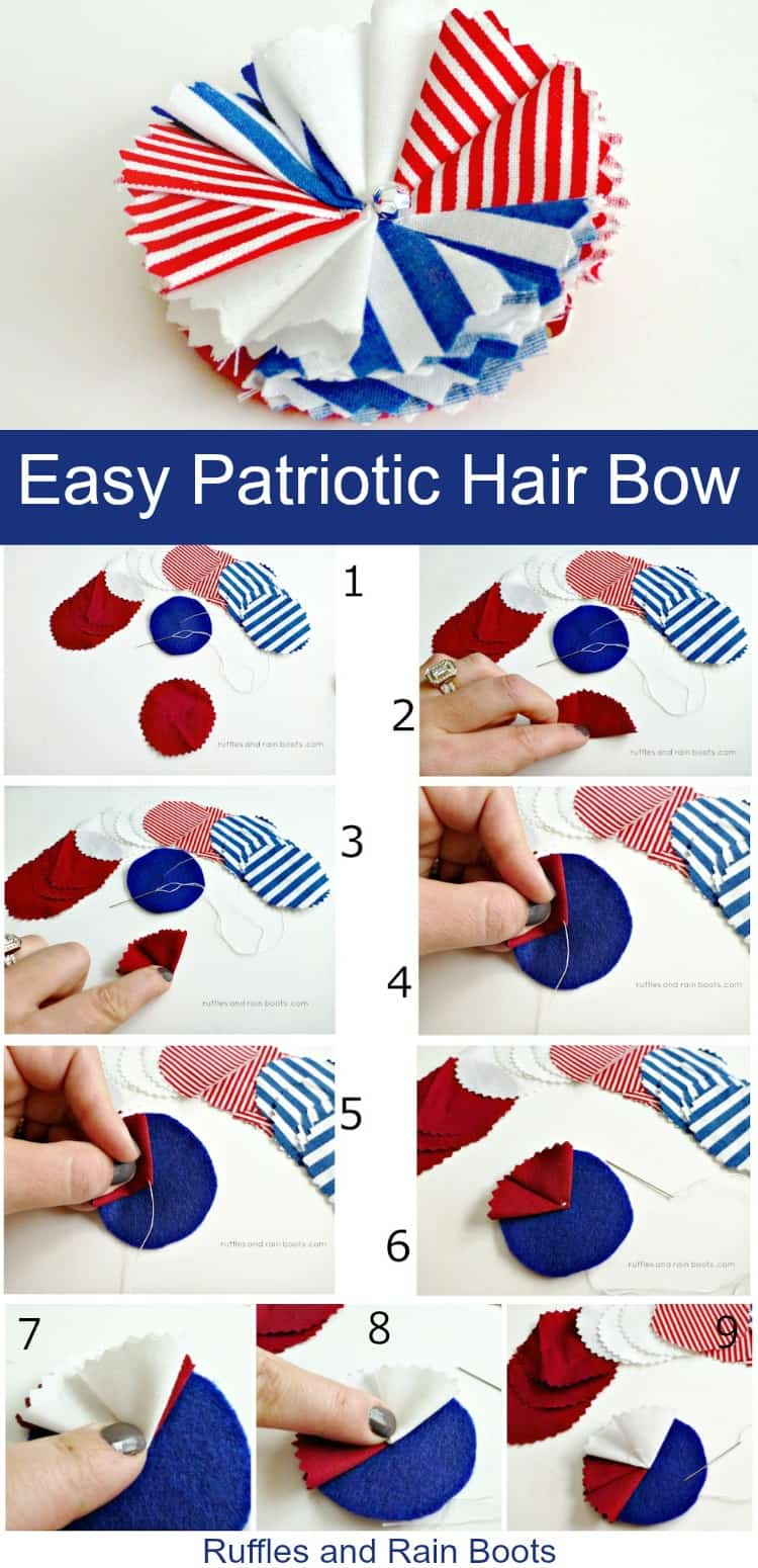 Make this easy DIY patriotic hair bow for 4th of July, Independence Day, or Memorial Day. #hairbow #hair #girlhair #tutorial #independenceday #4thofJuly #July4th #memorialday #patriotic #rufflesandrainboots