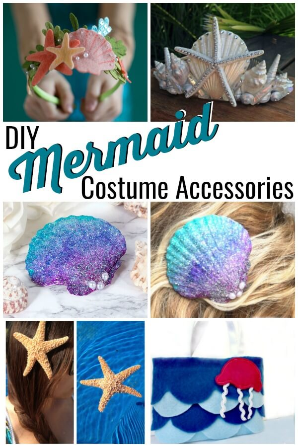 photo collage of bags, hair clips, and mermaid crowns with text which reads DIY mermaid costume accessories
