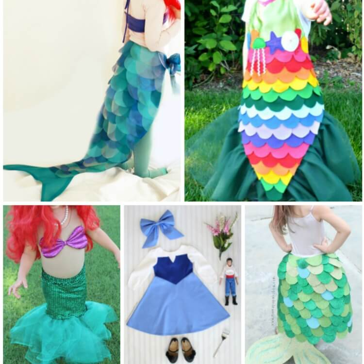 small photo collage of 5 mermaid costumes for toddlers and kids