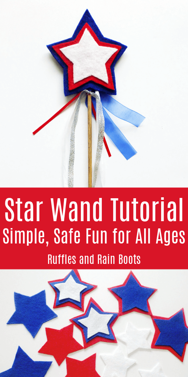 Make this fun, easy, and safe star wand craft for kids of all ages. Just grab some felt, ribbon, and a dowel. Let's get started! #wand #craftsforkids #4thofJuly #IndependenceDay #easycrafts #diywand #feltcrafts #rufflesandrainboots