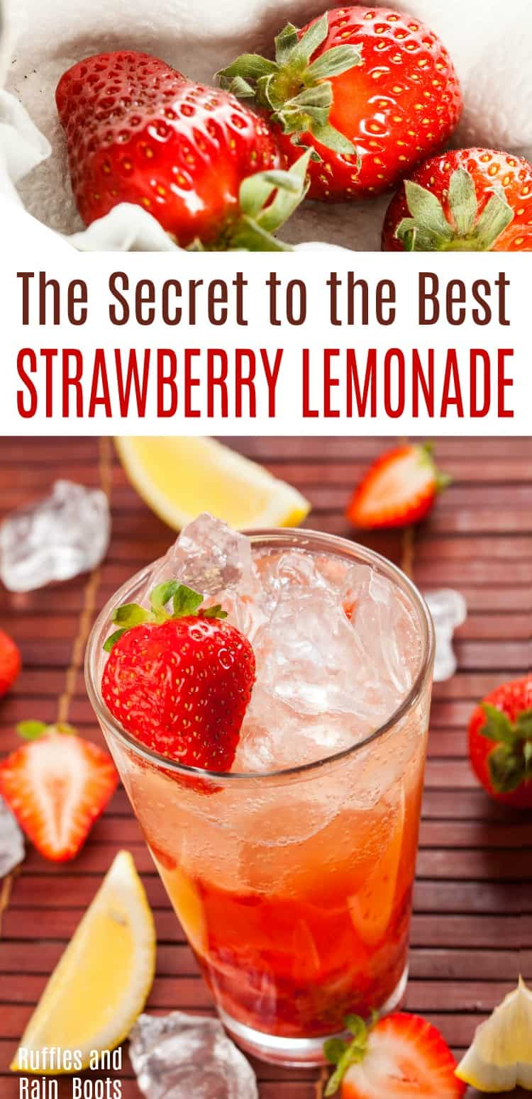This is the secret to an amazing strawberry lemonade. It's quick to come together and is an amazing hostess gift for summer get-togethers. #strawberry #lemonade #summer #summerdrinks #drinkrecipes #rufflesandrainboots