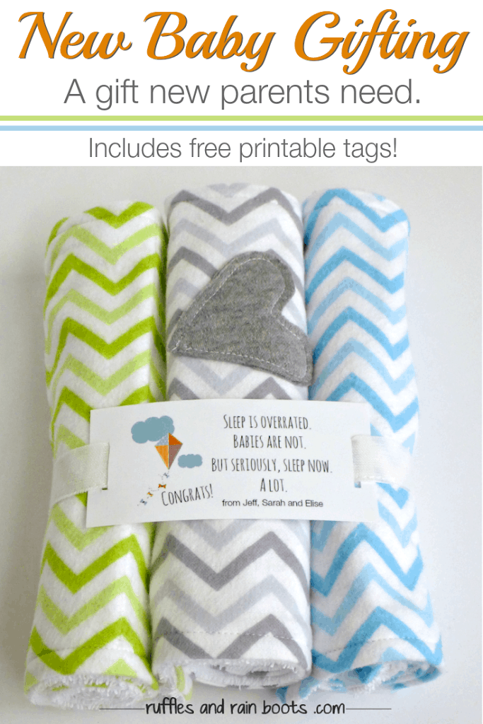 Easy Baby Burp Cloth Tutorial - Because ALL parents need these and they are a perfect beginning sewing project. #baby #newbaby #beginnersewing #sewingforbaby #rufflesandrainboots