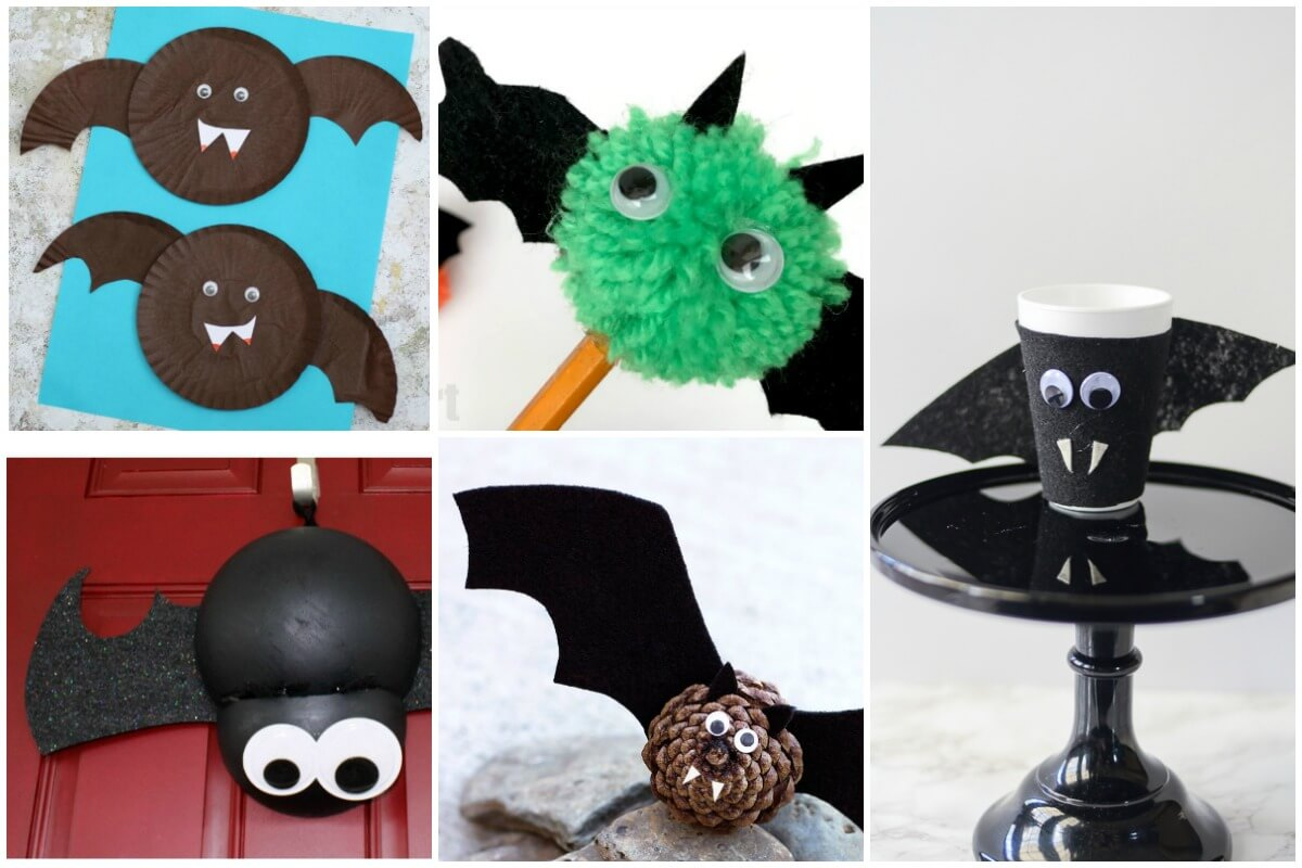 photo collage of 5 Halloween bat crafts for kids using fun materials