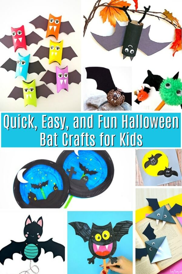 photo collage of bright Halloween bat crafts for kids with text that reads Quick Easy and Fun Halloween Bat Crafts for Kids
