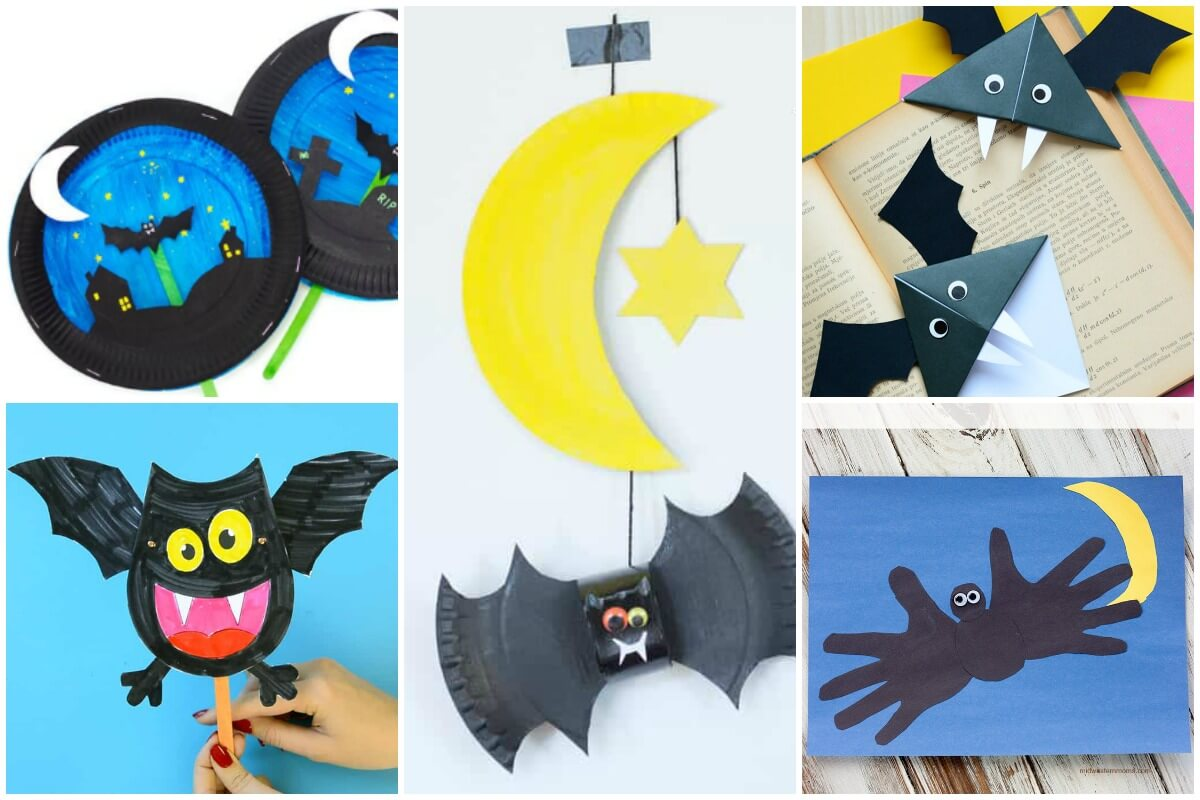 photo collage of 6 bat crafts using paper and paper plates