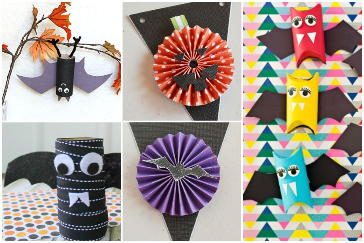 5 photo collage of paper tube Halloween crafts for kids