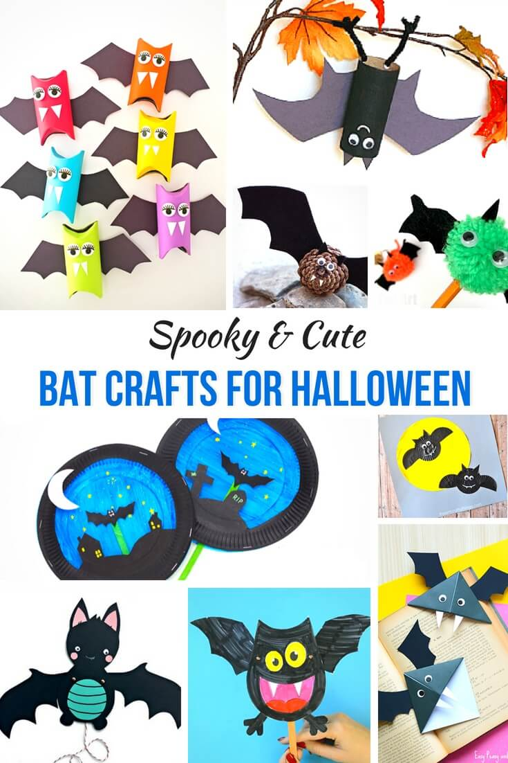 photo collage of Halloween bat crafts for kids with text which reads spooky and cute bat crafts for Halloween