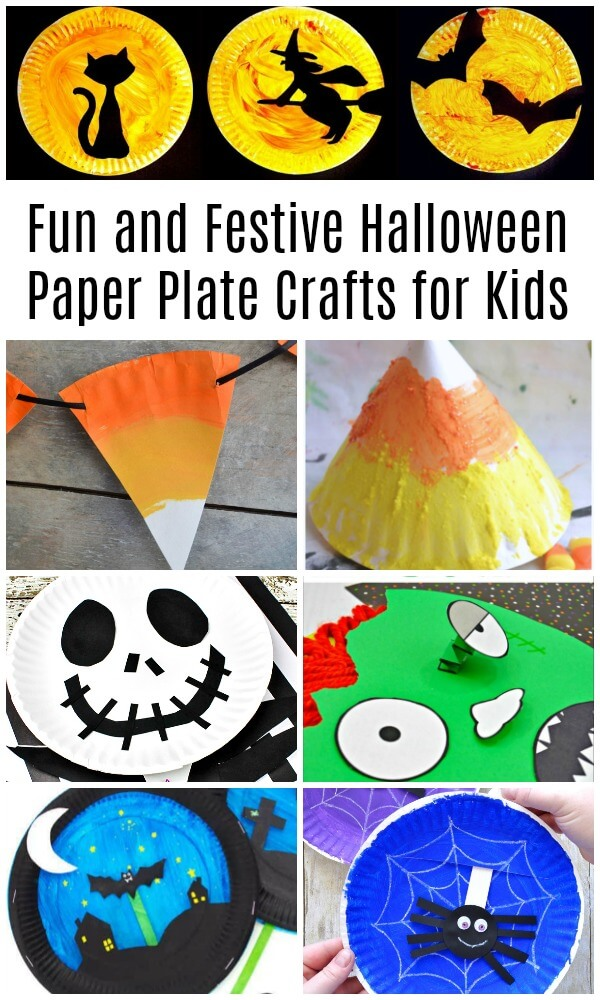 photo collage of candy corn monster and witch Halloween paper plate crafts