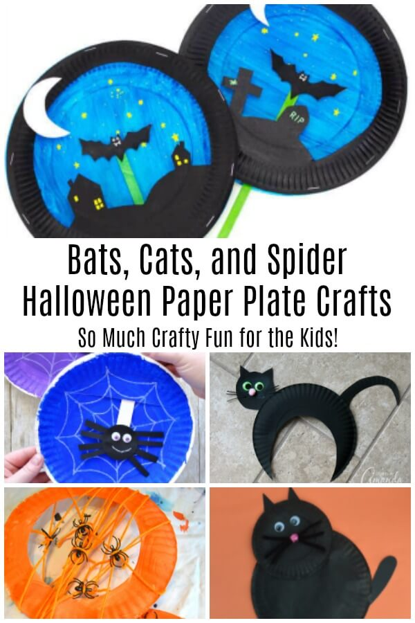 collage of bats cats and spider Halloween paper plate kid crafts