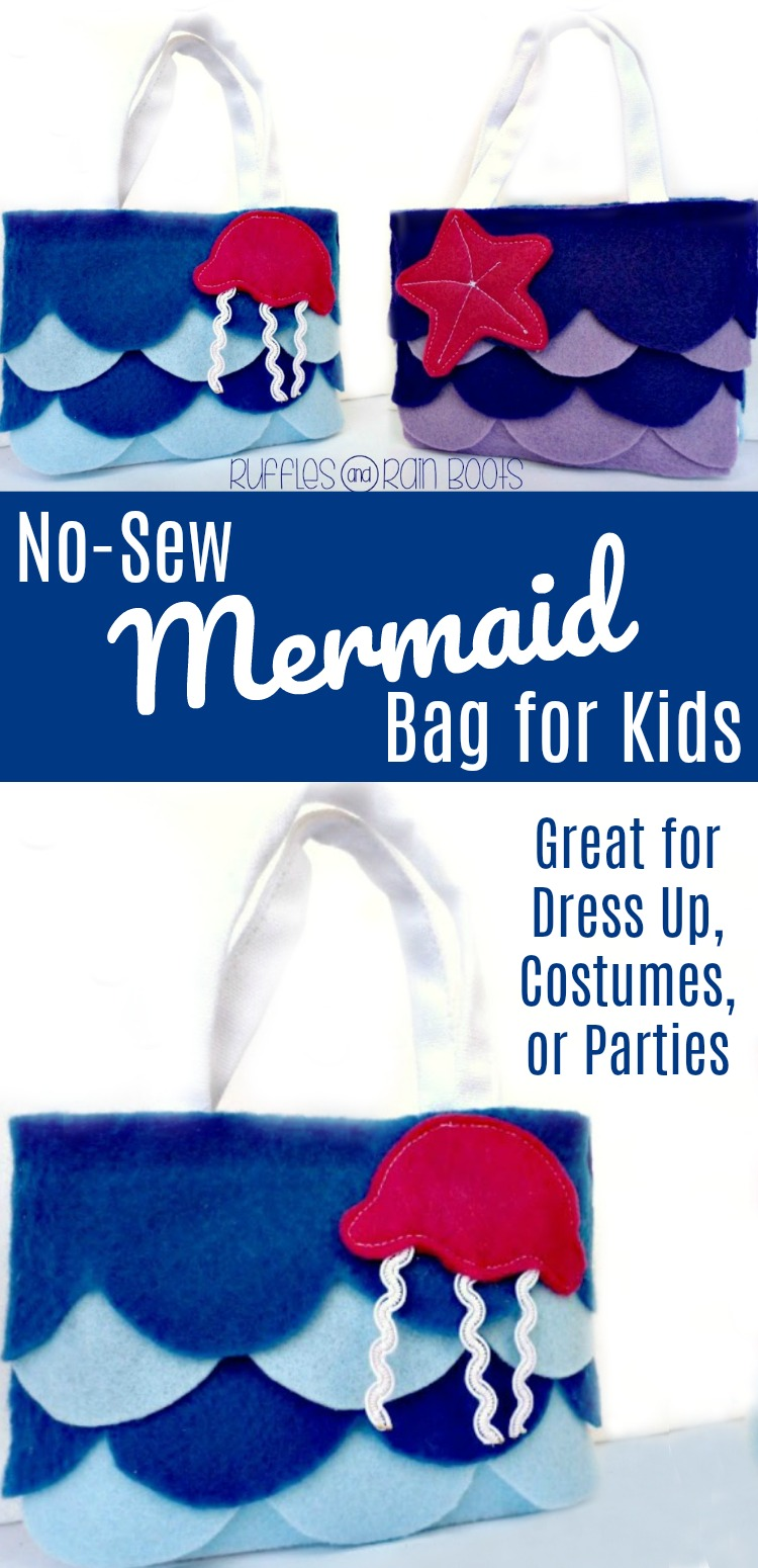 Make this no sew felt bag - perfect for mermaid lovers, mermaid party favors, or mermaid costumes - in no time at all. Free pattern included! #mermaid #partyfavor #rufflesandrainboots #felt