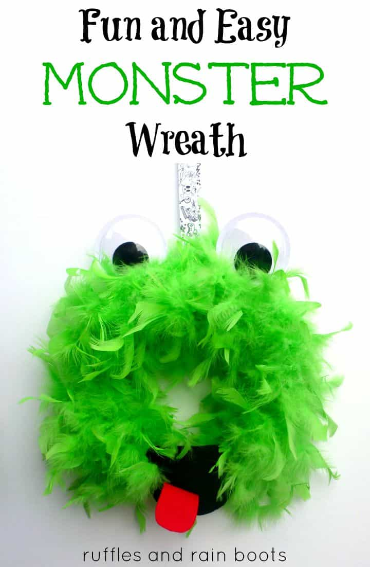 Make this adorable and easy 10-minute Monster Wreath with the kids. Whether it's for Halloween or for a monster theme learn and play, it's so much fun for kids! #monster #monstertheme #monsterparty #wreath #halloween #rufflesandrainboots