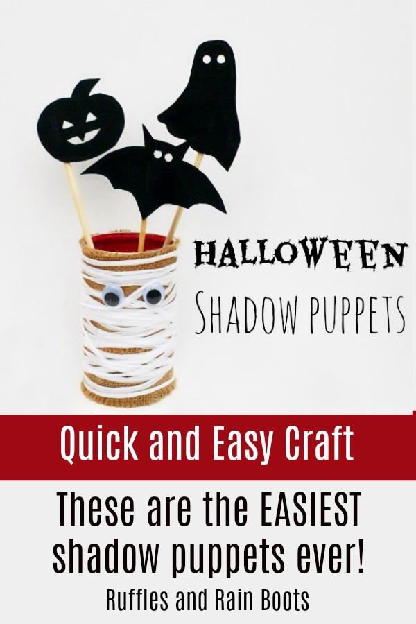 These might be the easiest Halloween craft ever - and the kids absolutely LOVED it! #shadowpuppets #puppets #kidscrafts #halloweencrafts #diyhalloween #rufflesandrainboots