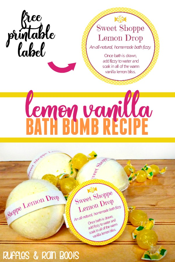 Lemon Vanilla Bath Bombs and Shower Fizzies are perfect for self-care or gifting. #selfcare #bathbombs #showerfizzy #lemon #vanilla #essentialoils #EOs #handmade #DIYGifts #Christmas