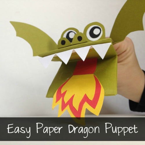 Paper Puppet Craft for Paper Dragon Puppet