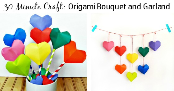 Learn how to make an origami heart bouquet or an adorable garland