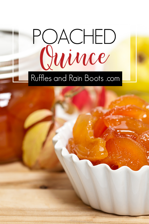 Make Fall's color changing fruit - this quince recipe is a perfect fall treat and is great served on so many dishes. #quince #howtomakequince #quincerecipes #fallfruit #fallrecipes #thanksgiving #fallbreakfast #quincefruit #rufflesandrainboots