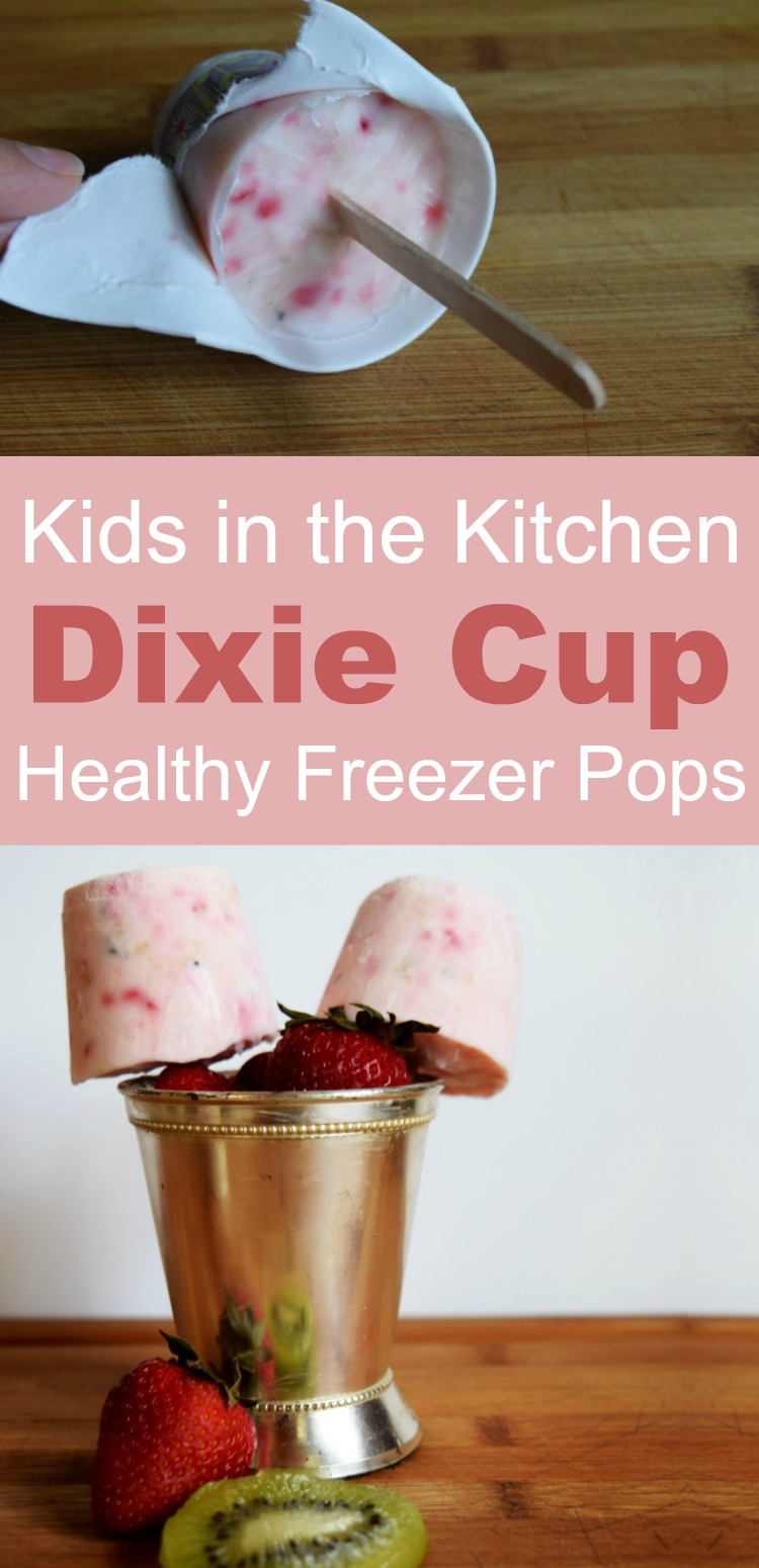 Dixie Cup Yogurt Popsicles - Make this 5-minute healthy freezer pops with the kids - it is so easy to make popsicles from a paper cup! #rufflesandrainboots #dixiecup #popsicle #popsicles #summer #kidsinthekitchen #summerdesserts