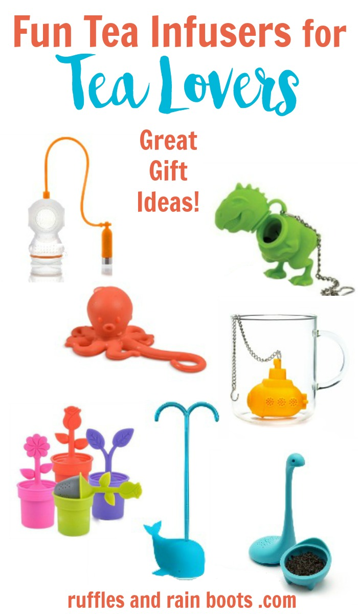 Tea infusers are a great gift idea for loose tea lovers. Click through to see more (and more gift ideas)! #tea #tealover #rufflesandrainboots #teagift