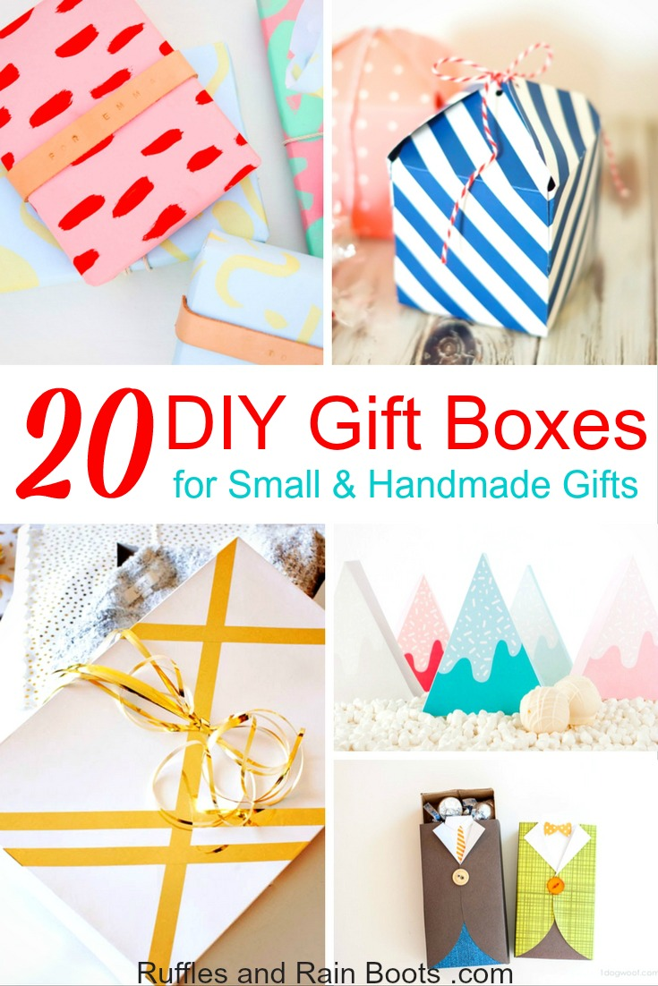 Looking for DIY gift box ideas to make your small handmade gifts (or purchase gift) extra special? Here are some ideas and templates to get you started! #rufflesandrainboots #diygift #giftbox #easydiy