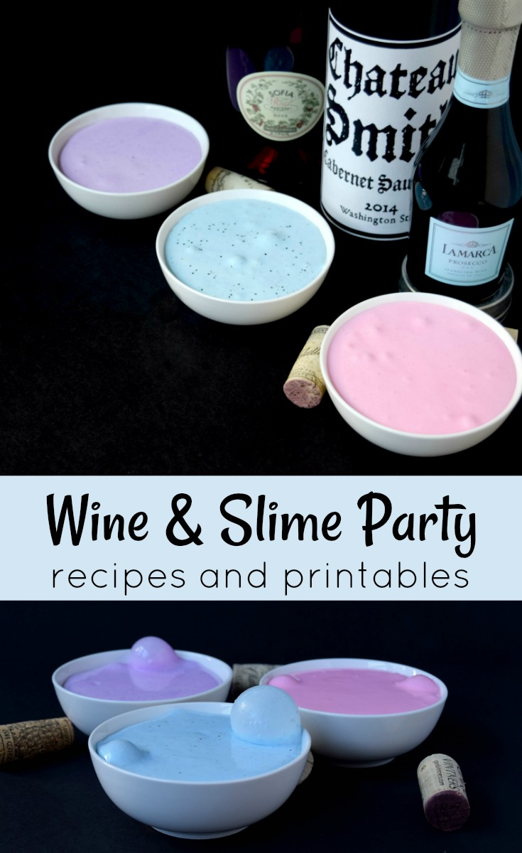 photo collage of wine bottles and slime recipes on black background