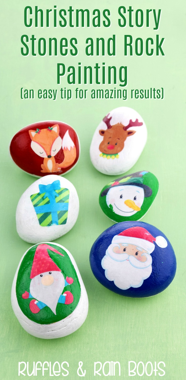 Easy Christmas Story Stones Using Clipart