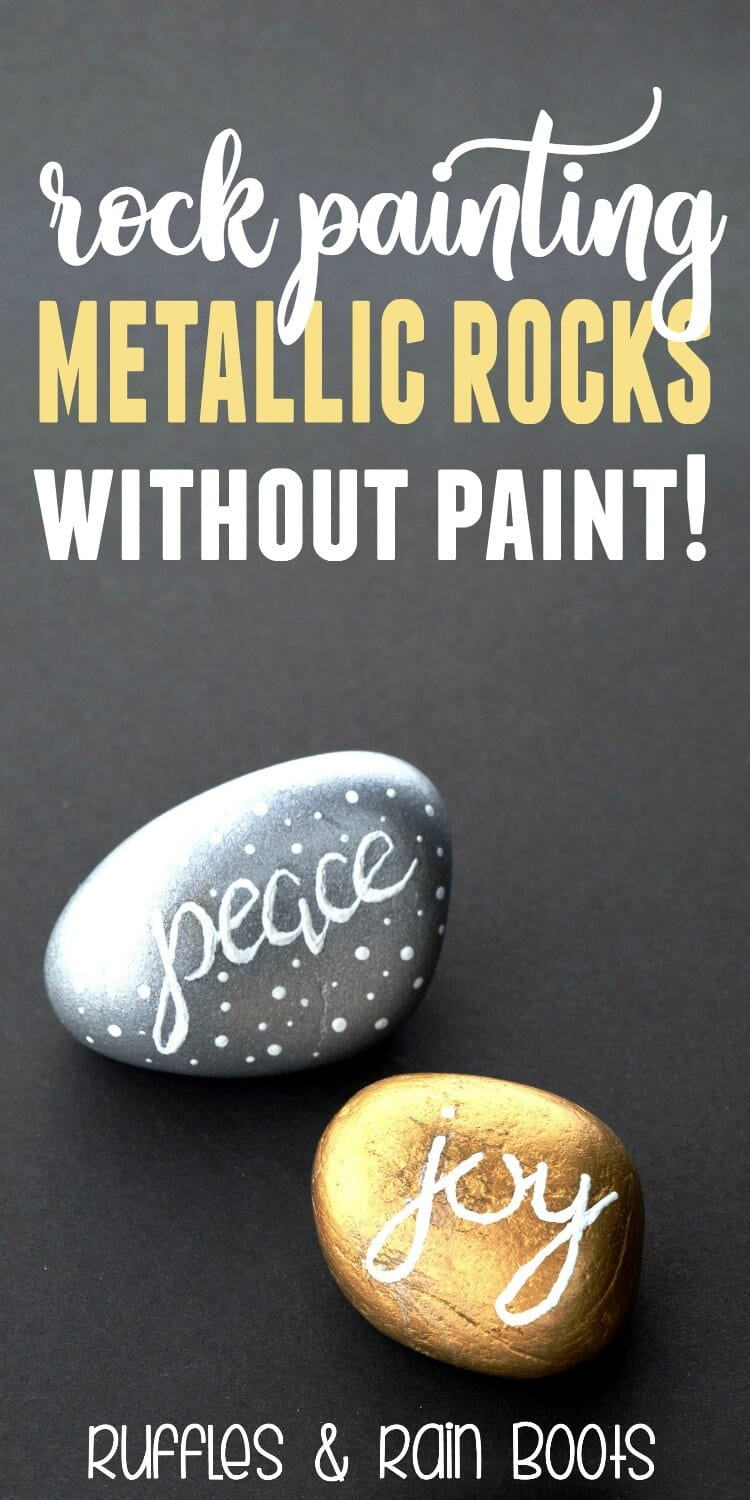 gold and silver rocks with hand lettering on black background with text which reads rock painting metallic rocks without paint