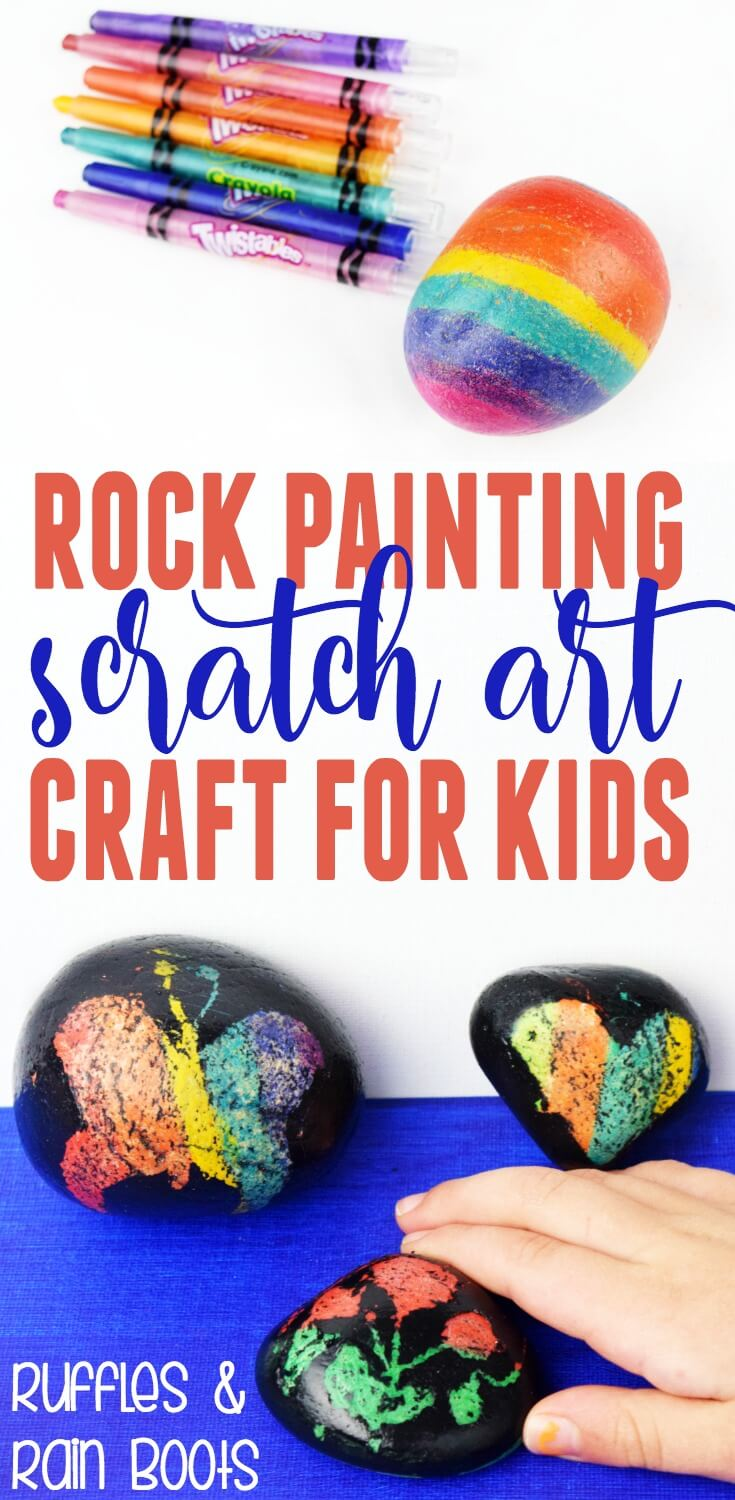 This is such a fun craft! Scratch art rock painting is easy, fun, and you already have everything you need. #rockpainting #rockpaintingtutorial #scratchart #kbn #craftsforkids #rockpaintingbeginners