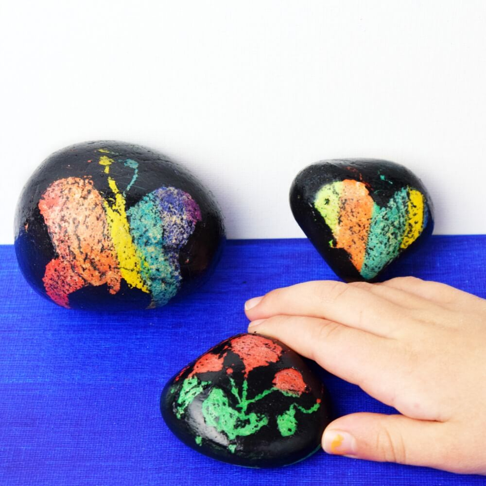 Scratch art rock painting is easy, fun, and you already have everything you need. This is a great kid's craft.