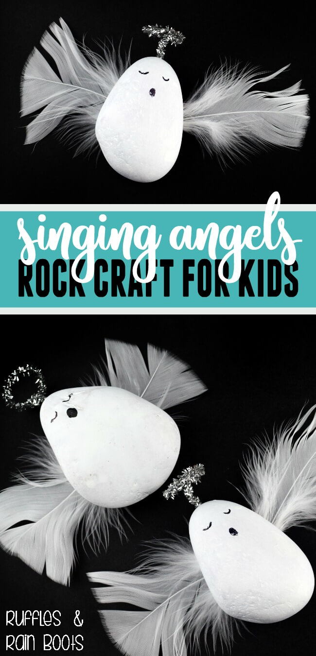 Rock Angels craft for kids - this beginner rock painting craft brings in a few standard craft supplies for do-it-yourself fun for kids. #rockpainting #angelcrafts #craftsforkids #kbn