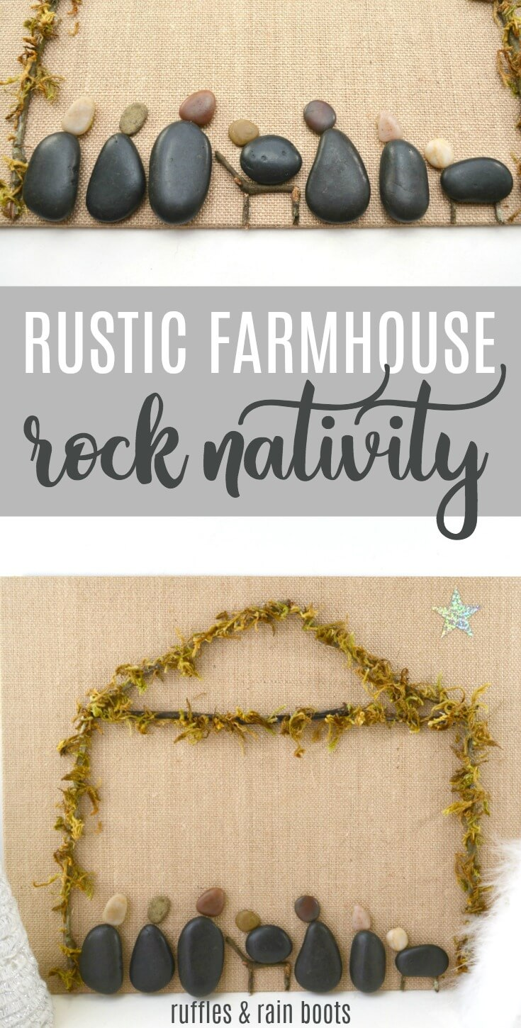 This simple rustic farmhouse rock nativity craft is a great way to bring the outside indoors this holiday season. #christmas #nativity #babyJesus #rockpainting #crafts #handmadeholiday #diy