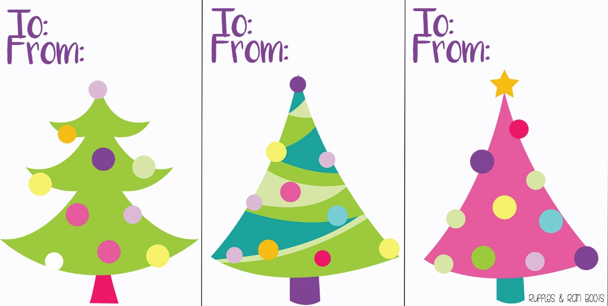 Merry and Bright Christmas tree gift tags printable