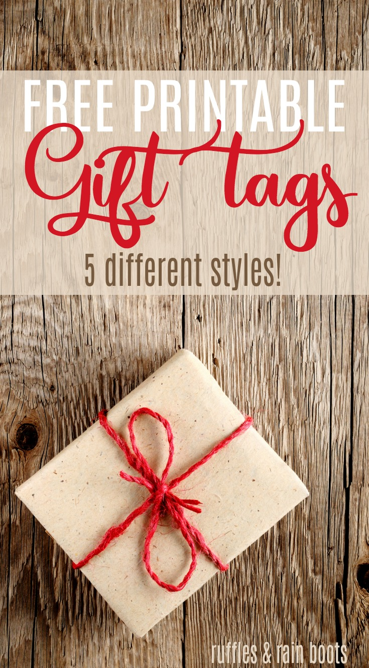 Get these free printable gift tags in 5 styles! #Christmas #holiday #handmadeholiday #Christmas2017 #printable #gifttag