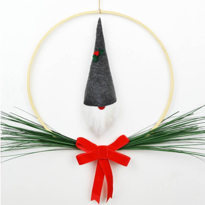 Scandinavian Minimalist Wreath with Gnome Ornament for Christmas