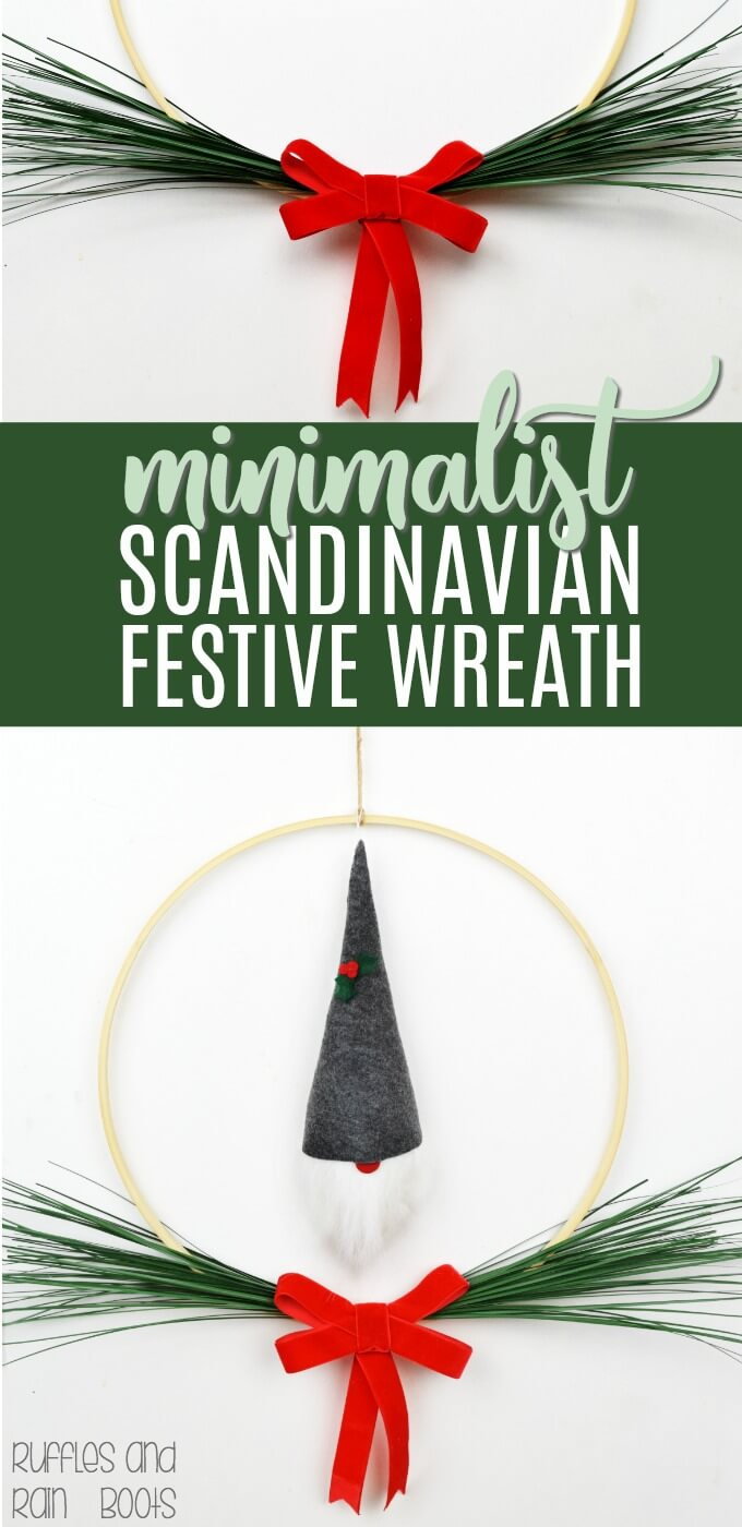 simple embroidery hoop Scandinavian Christmas wreath in a minimalist style on white background