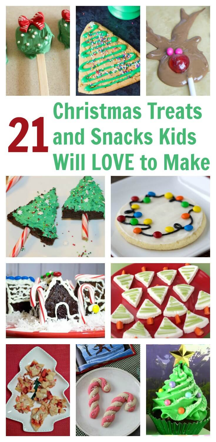 Make these Christmas themed treats and snacks with your kids for a fun and tasty holiday break from school. #christmas #christmasdesserts #Christmaskids #foodgifts #holidaytreats
