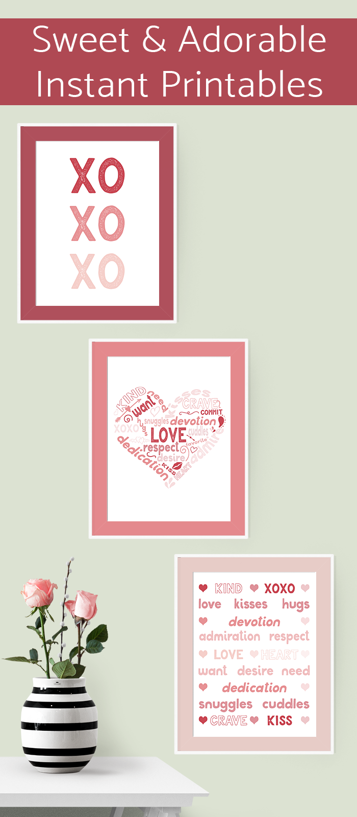 Get the free Valentine's Day printables in an adorable color palette and hand-crafted designs. #valentinesday #printable #valentinedecor #valentinescraft