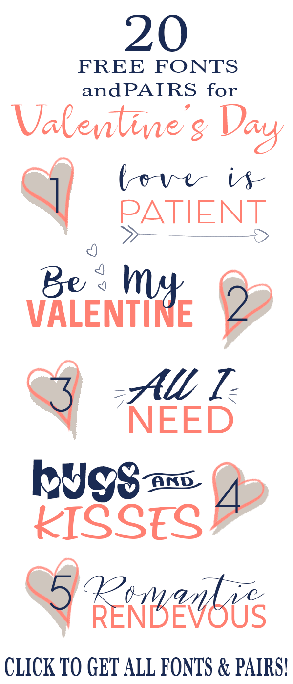 Get these adorable and free fonts for Valentine's Day, wedding invitations, announcements, and crafts.