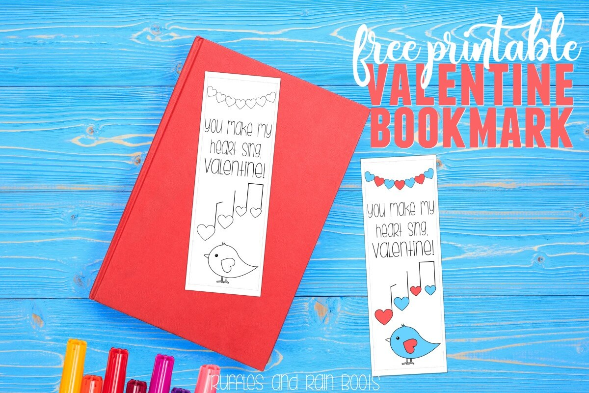 Free Valentine Printable bookmark coloring page for kids and classroom Valentines