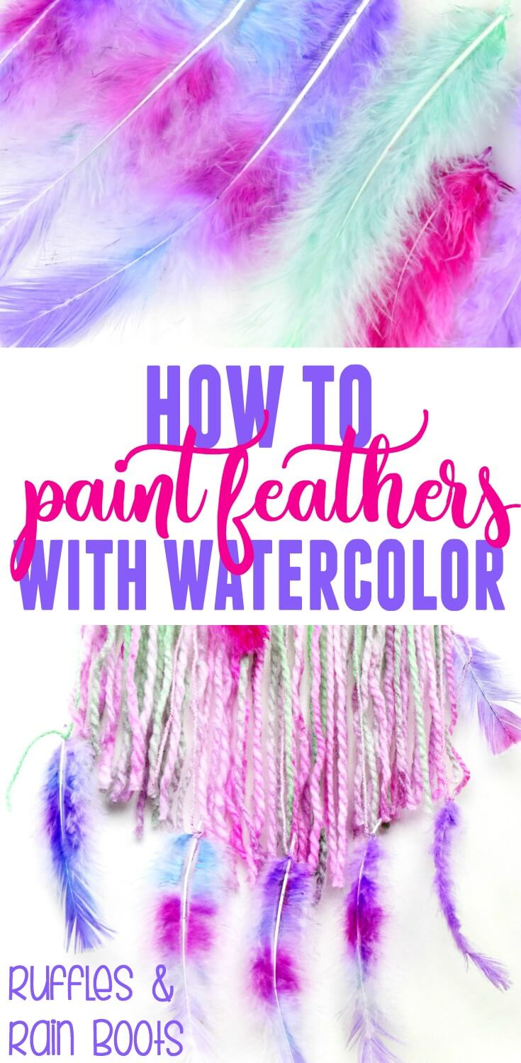 Learn how to paint feathers with watercolor and avoid the harsh dyes. These are great to use in costumes, cosplay, for home decor, and crafts. #feathers #featherDIY #paintingcrafts #craftsforkids #feathercraftsforkids