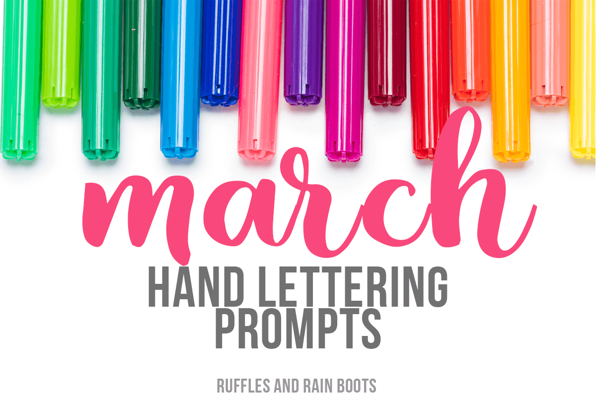 Grab these March Hand Lettering Prompts, featuring 3 font and type styles and a free, 11-page practice workbook! These prompts are also great for bullet journals and doodling.
