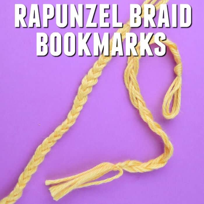 yellow braided bookmark on purple background with text which reads Rapunzel braid bookmarks
