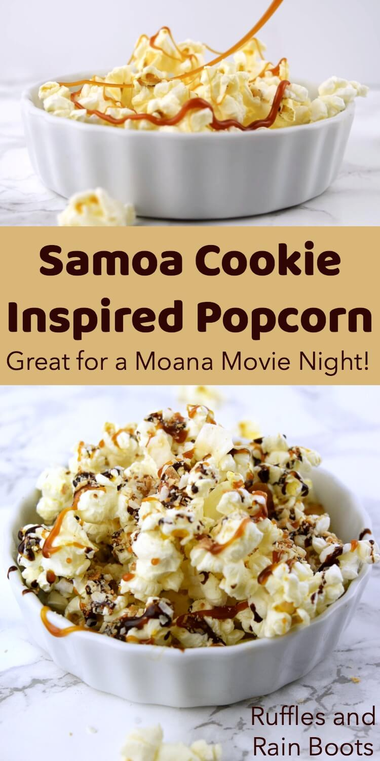 Make this Samoa movie popcorn - yes, like the delectable cookie! - to please any crowd on family movie night. Psst: Girl Scout cookie lovers will LOSE IT over this! #popcorn #Samoacookie