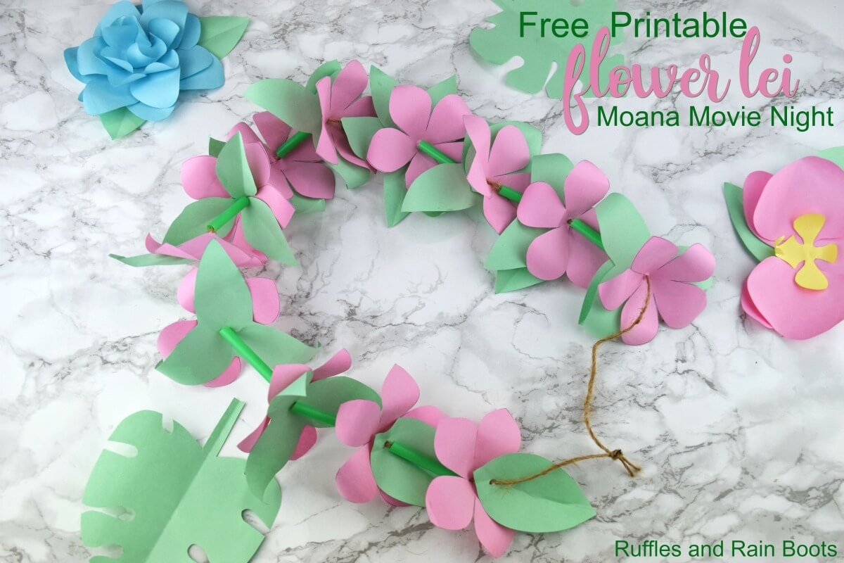 Paper flower lei template for a Moana party or movie night