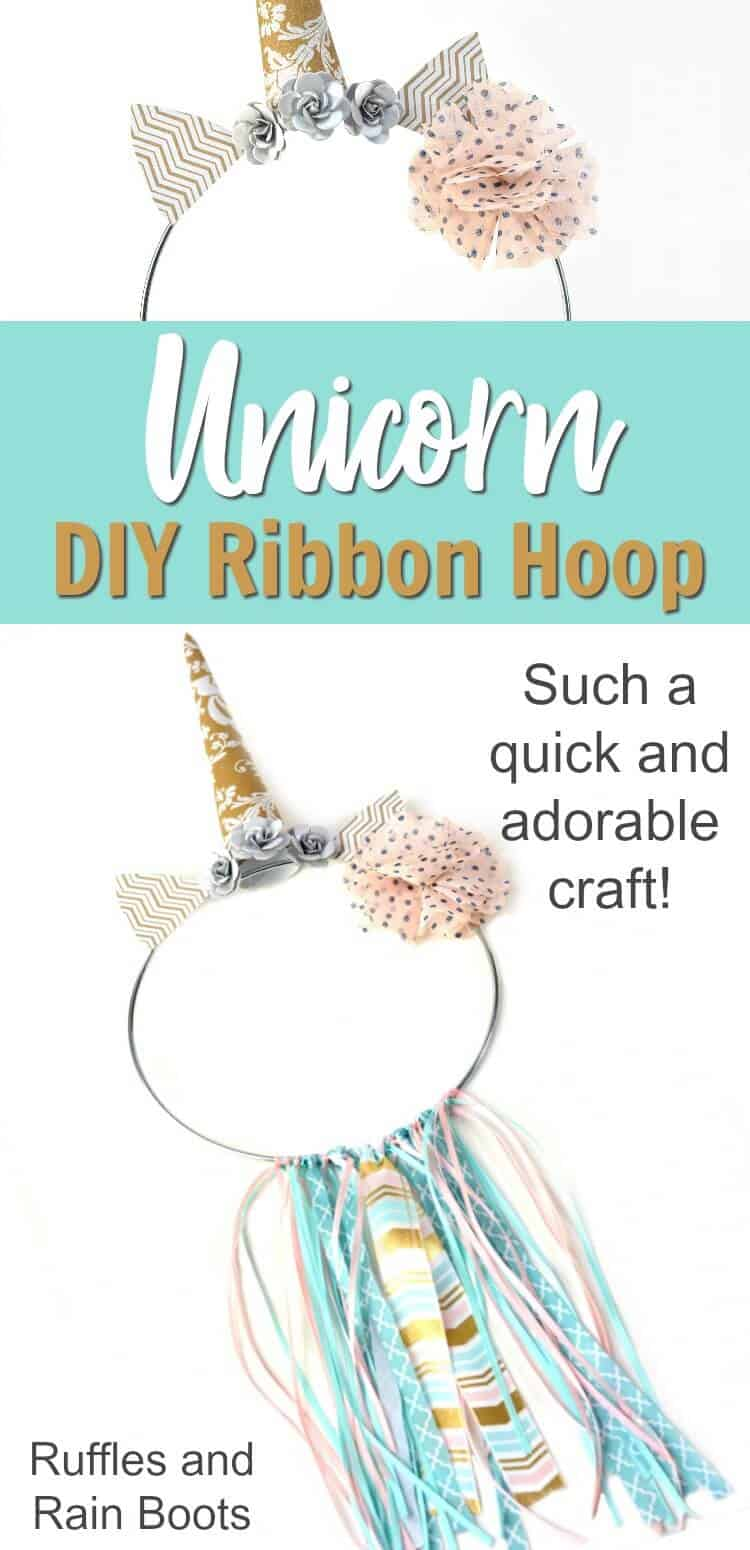 Make this adorable unicorn ribbon hoop wall decor for any little girl's room or nursery. It's ready in only 20-minutes, so it's a quick craft for anyone. #unicorn #rufflesandrainboots #decor