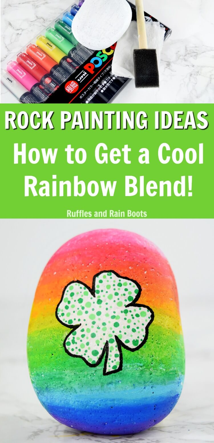 Learn how to blend paint pens with this amazing rainbow rock painting tutorial #rockpainting #rufflesandrainboots #rainbow